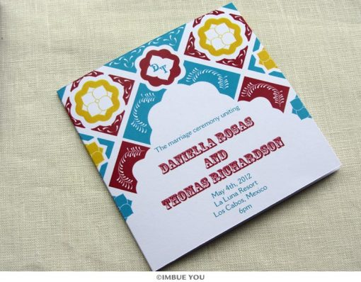 mexican tile wedding program by Imbue You