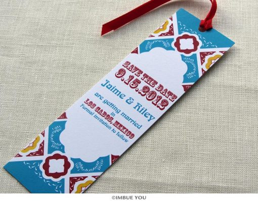 mexican tile save the date bookmark by Imbue You