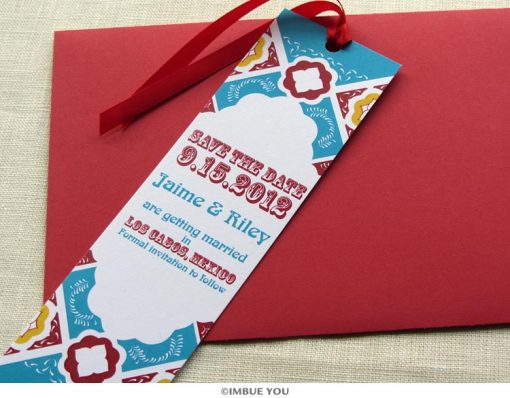 mexican tile save the date bookmark with envelope by Imbue You