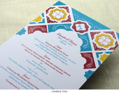 Mexican tile menu for dinner or wedding reception by Imbue You