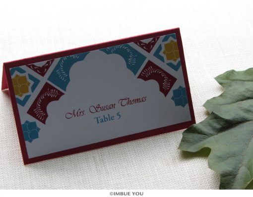 Mexican tile place card or escort card by Imbue You