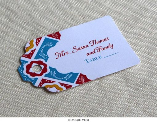 Mexican tile place card tag by Imbue You