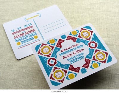 mexican tile save the date postcard by Imbue You