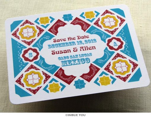 mexican tile save the date postcard front by Imbue You