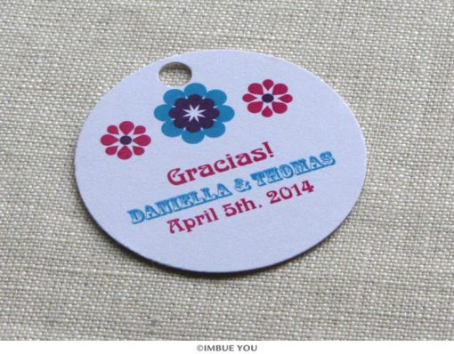 mexican tropical floral favor tag or gift tag by Imbue You