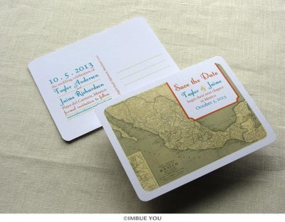 mexico map save the date postcard by Imbue You