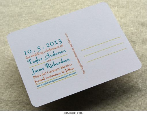mexico map save the date postcard back by Imbue You