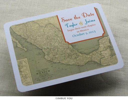 mexican map save the date front by Imbue You