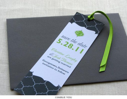 indian save the date bookmark monogram with envelope by Imbue You