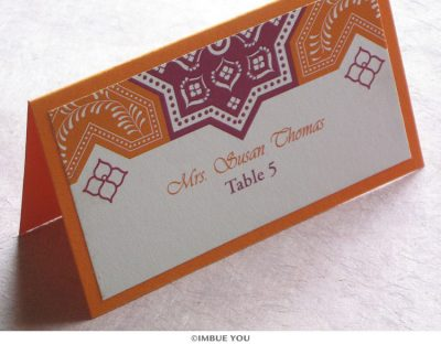 Moroccan tile place card or escort card by Imbue You