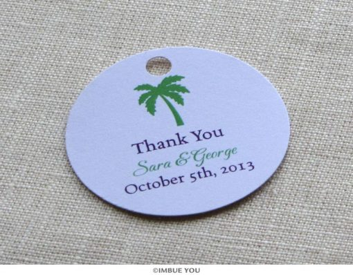 palm tree beach favor tag or gift tag by Imbue You