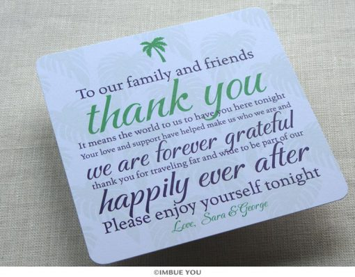 Palm Tree Dinner Plate Reception Thank You Card by Imbue You