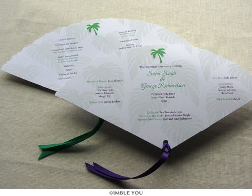 palm tree fan wedding program beach by Imbue You