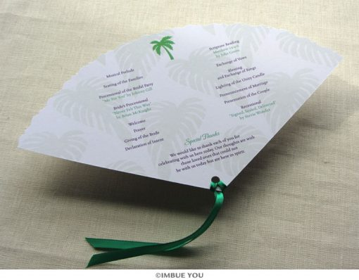palm tree fan wedding program beach back by Imbue You