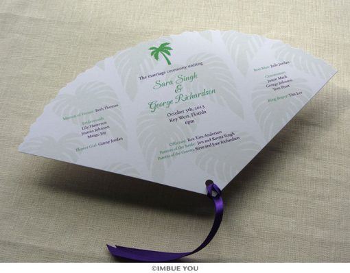 palm tree fan wedding program beach front by Imbue You