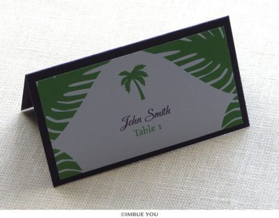 Palm tree beach place card or escort card by Imbue You
