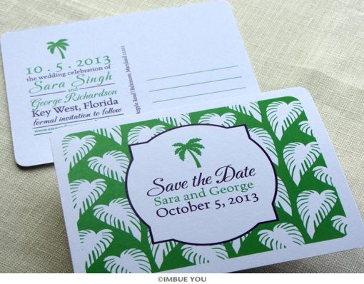 palm tree save the date beach by Imbue You
