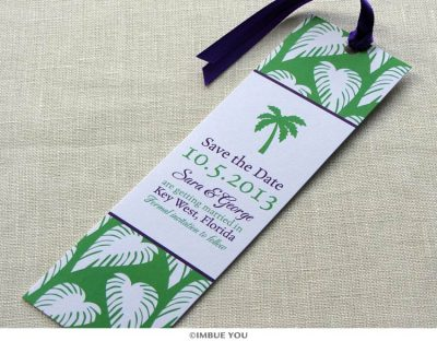 palm tree save the date bookmark by Imbue You