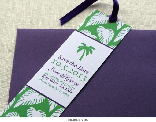 palm tree save the date bookmark with envelope by Imbue You