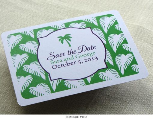 palm tree save the date beach postcard front by Imbue You