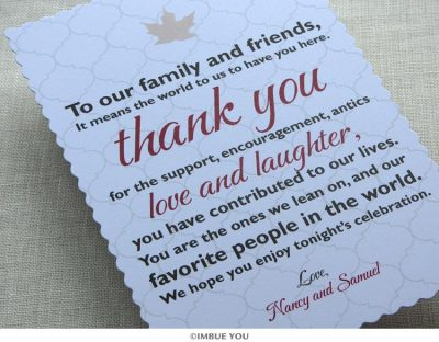 Rustic Fall Leaf Dinner Plate Reception Thank You Card by Imbue You