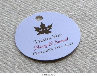 rustic fall leaf favor tag or gift tag by Imbue You