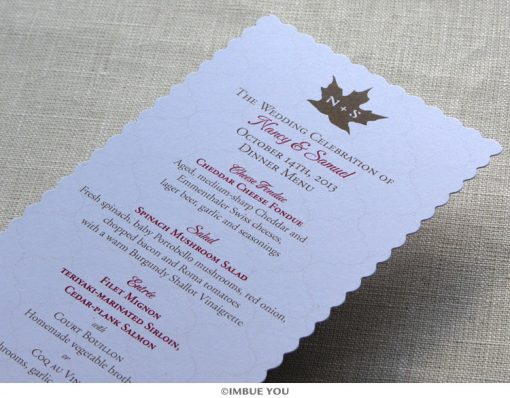 Rustic Fall leaf menu for dinner or wedding reception by Imbue You