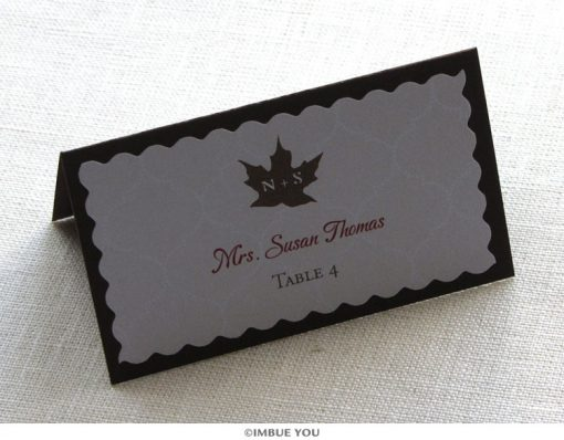 Rustic fall leaf place card or escort card by Imbue You