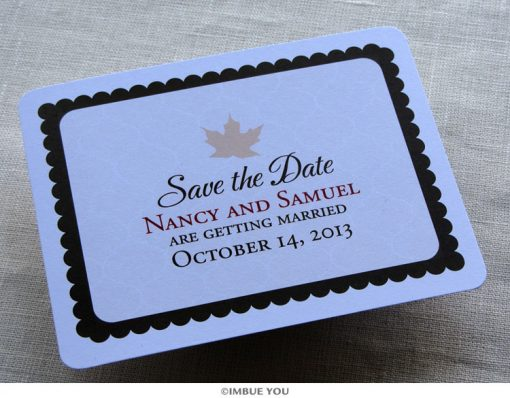 rustic fall leaf save the date postcard front by Imbue You