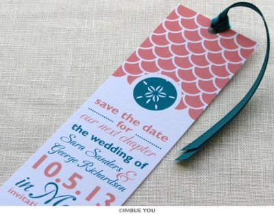 sand dollar save the date bookmark by Imbue You
