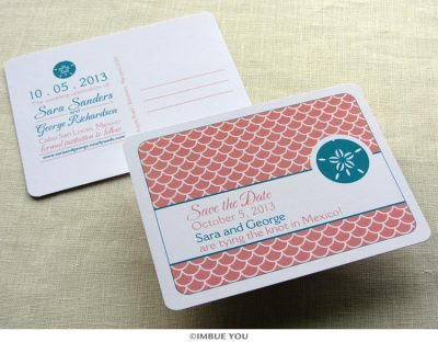 sand dollar save the date beach postcard by Imbue You