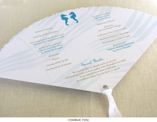 seahorse fan wedding program back by Imbue You