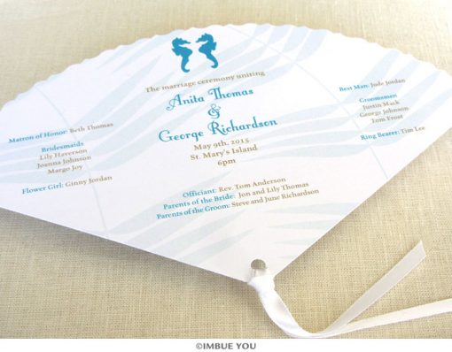 seahorse fan wedding program front by Imbue You