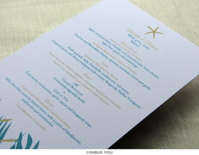 Starfish beach menu for dinner or wedding reception by Imbue You