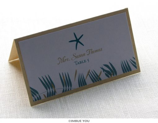 Starfish beach place card or escort card by Imbue You