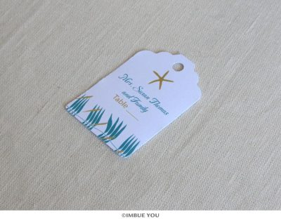 Starfish beach place card tag by Imbue You