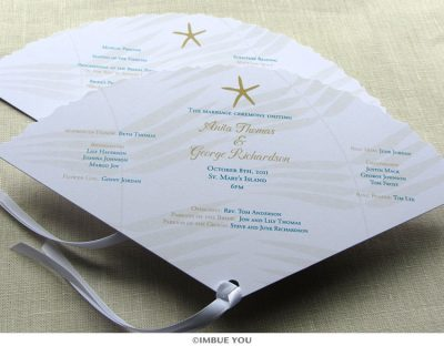 starfish fan wedding program beach by Imbue You