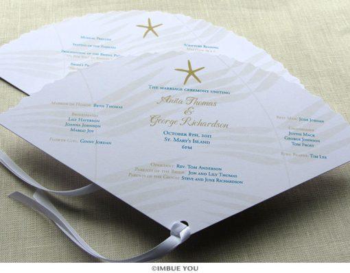 starfish fan wedding program beach by Imbue You