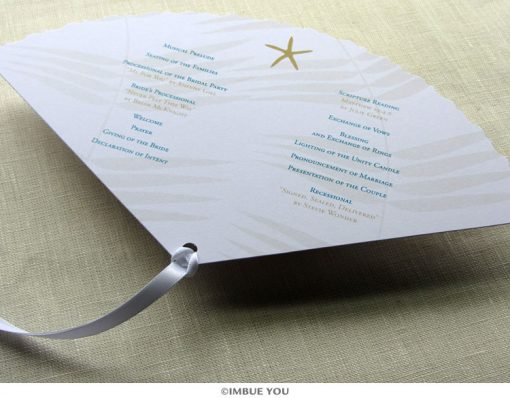 starfish fan wedding program back by Imbue You