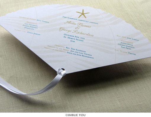 starfish fan wedding program front by Imbue You