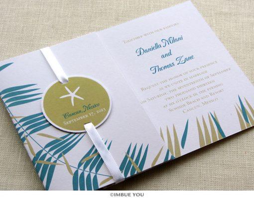 Starfish Wedding Invitation Folded by Imbue You