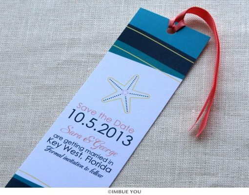 starfish save the date bookmark wave by Imbue You