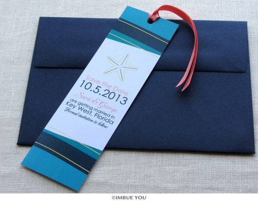 starfish save the date bookmark wave with envelope by Imbue You