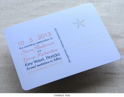 Starfish save the date wave back by Imbue You