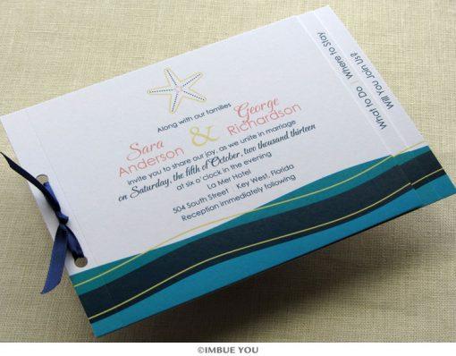 Starfish Wave Beach Wedding Invitation by Imbue You