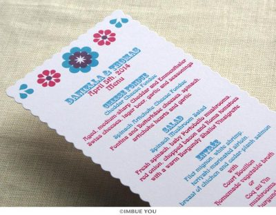 Mexican tropical floral menu for dinner or wedding reception by Imbue You