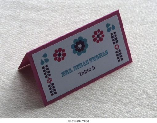 Mexican tropical floral place card or escort card by Imbue You