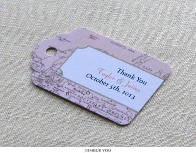 Vintage map favor tag or gift tag by Imbue You