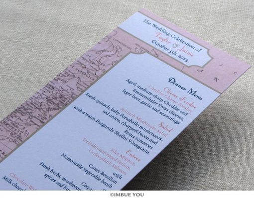 Vintage map menu for dinner or wedding reception by Imbue You