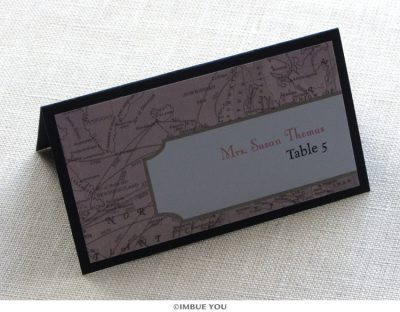 Vintage map place card or escort card by Imbue You